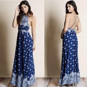 LESHOP Blue Boho Floral Halter Maxi Dress Sz M